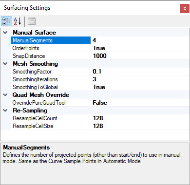 Surfacing Tool Settings
